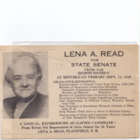 Lena A. Read for State Senate  <br /> Republican primary, September 12th, 1950. (2 copies)