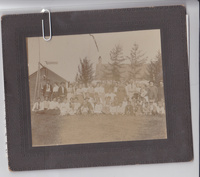 """July 4th, 1908 group portrait at Westgate farm. """"Edd Westgate stone house on road to Meriden."""""""