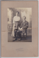 """Annie Lewin and Kimball Daniels.  Annie Lewin posed for Parrish printing of """"Harvest""""."""