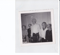 Birthday celebration at Herbert William's place, January 1956. Featuring Mrs. Addie Rogers 86, Mrs. Mary Camp 84, H.H. Williams 80, May Cole 85, Leona Troubly, 80.