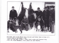 Wild boar shot by Roy Morse (not pictured) and Palmer Read on Black Hill. Picture taken at Abe Reads c.1955.